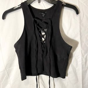 Guess Ruthie lace up tank cropped size M
